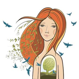 静かな女の子との概念図。魂、内面の調和、自然との一体についての絵。