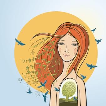 고요한 소녀와 개념적 그림입니다. 영혼, 내면의 조화, 자연과의 단결에 대해 상상해보십시오.