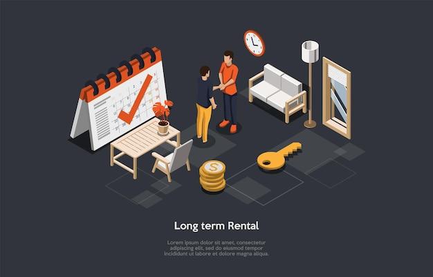 Концептуальная иллюстрация с текстом. изометрические векторной композиции. мультяшный 3d стиль дизайна. долгосрочная аренда квартиры, жилищный бизнес, агентство недвижимости, договор страхования безопасности, процесс сделки
