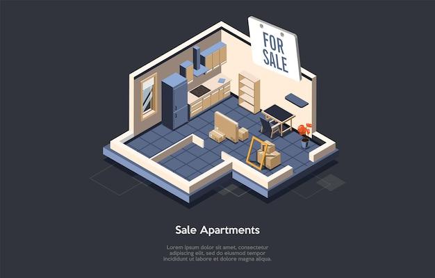 텍스트와 개념적 그림입니다. 아이소메트릭 벡터 구성입니다. 만화 3d 스타일 디자인. 판매 아파트, 집 인테리어, 내부에서 주거용 평면. 부동산 중개업, 건물 매매 서비스