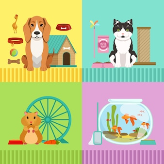 Conceptual illustrations of different pets. dog, cat, hamster and fishes.