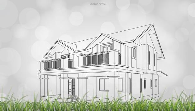 家の遠近法レンダリングの概念イメージ。明るいボケ味の背景を使用した3dワイヤーフレームレンダリング。ベクトルイラスト。