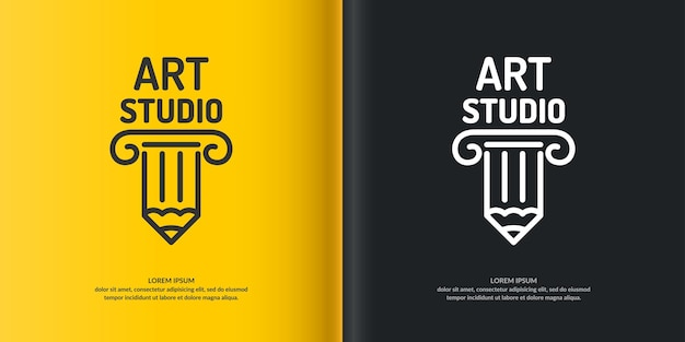 Концептуальный логотип арт-студии. современный логотип, линейный логотип столбцов.