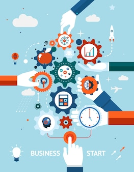 ビジネスと起業家精神のビジネスの概念は、さまざまなアイコンが付いた歯車と歯車で開始または開始します