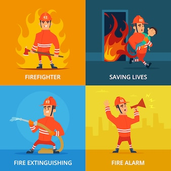 Conceptual pictures of firefighter and work equipment