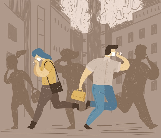 Концептуальный плакат загрязнения воздуха. в городе люди дышат грязным воздухом и кашляют. плохая экология.