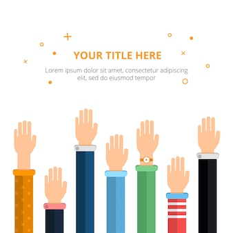 Conceptual poster with different hands in action poses. vector illustration in flat style