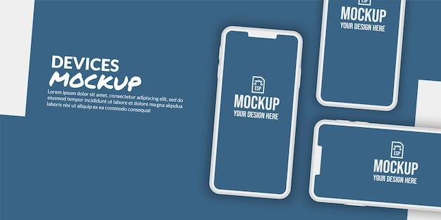 アプリ開発のための空白の画面と概念的なスマートフォンのモックアップ