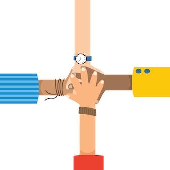 Conceptual team symbol of hands