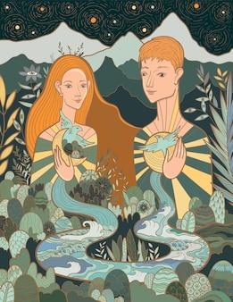 자연과 그들 자신과 사랑과 조화를 이루는 여성과 남성의 개념적 벡터 삽화. 세상의 모든 것과 모든 것의 연결.