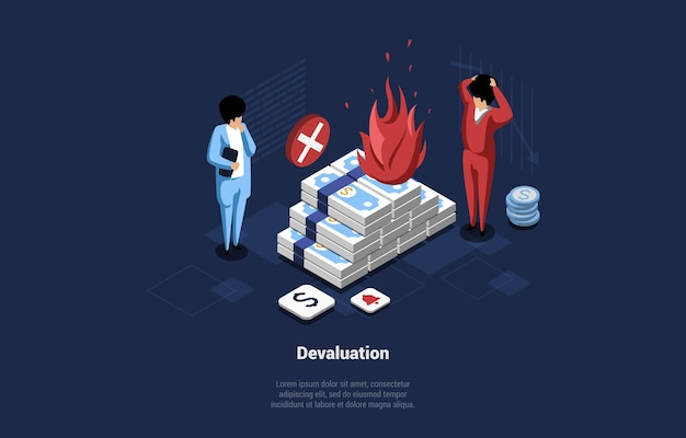 Концептуальные векторные иллюстрации идеи девальвации денег. изометрические 3d композиции в мультяшном стиле с изометрией и двумя персонажами мужского пола, стоящими возле горящей кучи банкнот. финансовый кризис.