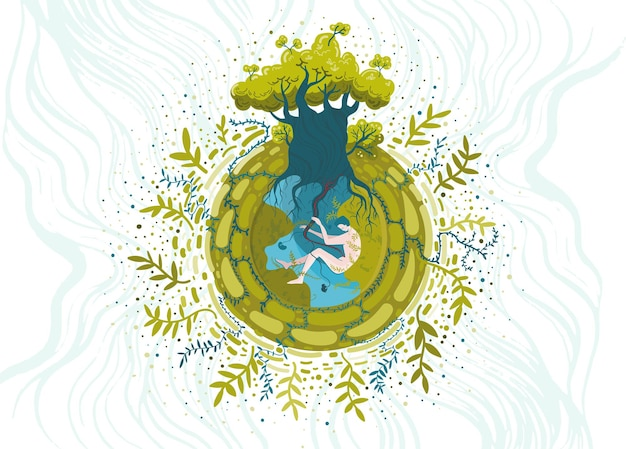 생태 및 자연 보호 테마에 대한 개념적 벡터 일러스트 레이 션. 당신은 자연의 일부입니다, 그것을 돌보세요.