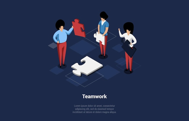 Conceptual vector illustration with text and characters. isometric composition in cartoon 3d style. teamwork, group of businesspeople making puzzle together, togetherness ideas, professional spirit.
