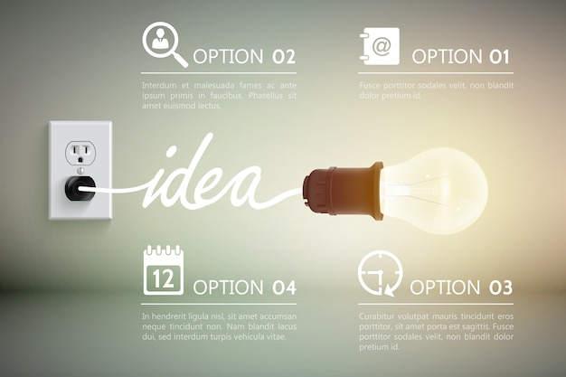 단어 아이디어와 장식 표지판 일러스트와 함께 전원 소켓에 연결된 백열 램프 개념