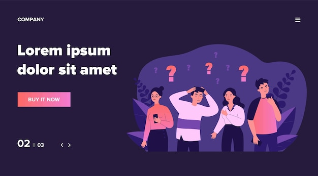 Concerned people solving problem. depressed guys and girls looking for answers   illustration. challenge and question concept for banner, website  or landing web page