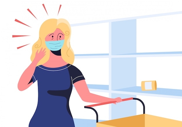 Concerned woman with a trolley and in medical mask is looking at empty shelves in a supermarket. panic buying duric covid-19 pandemia lockdown. compulsive hoarding as a symptom of mental disorder.
