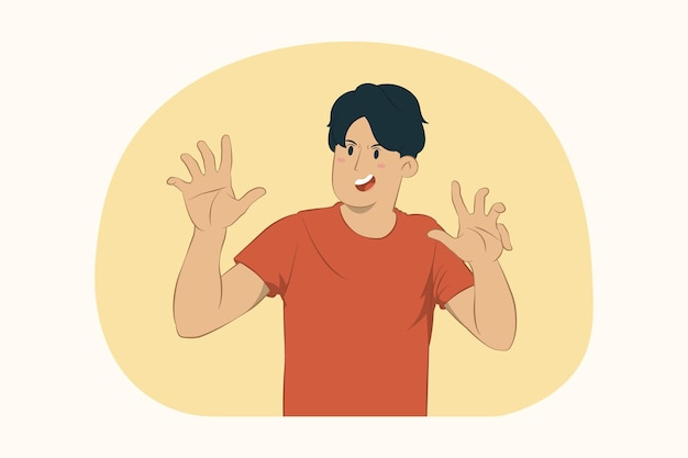 Concerned young man showing stop gesture aside with palm concept