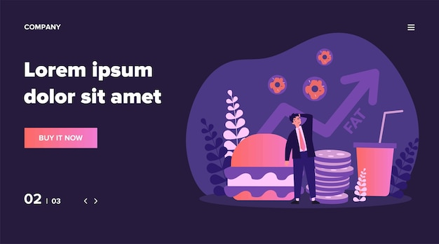 Concerning man thinking about harm from unhealthy food. meal, burger, fat   illustration. healthcare and nutrition concept for banner, website  or landing web page