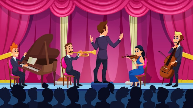 Concert of classic music orchestra cartoon