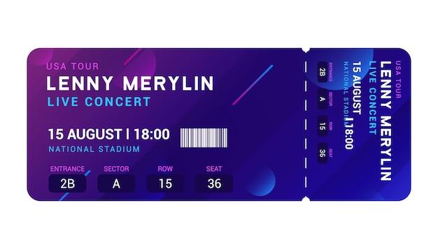 コンサートの入り口のベクトルチケットテンプレート。パーティーイベントのエレガントなチラシデザインショー。ミュージックパスの招待状。