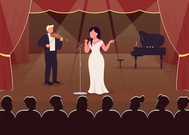 콘서트 홀 성능 평면 색상. 아름다운 노래의 저녁 쇼. 우아한 클래식 음악 쇼 예술가 2d 만화 캐릭터와 큰 고급 극장