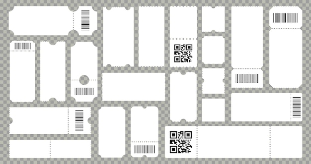 Concert movie theater ticket template. empty lottery cardboard or paper coupons. ribbed templates with barcode or qr code. vector isolated set