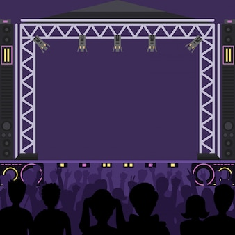 Concert stage scene music stage and night concert party. young pop group fun zone people silhouette concert crowd in front of bright music stage lights. pop artists group band scene