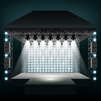 스포트라이트가있는 콘서트 무대. 쇼와 장면, 엔터테인먼트 디스코 파티.