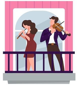 Concert of violinist and flutist on balcony, coronavirus lockdown and quarantine activities during outbreak. musicians giving performance for neighbors, people in suits. vector in flat style