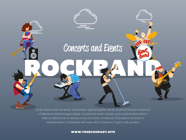 Concerts and events rock band poster template