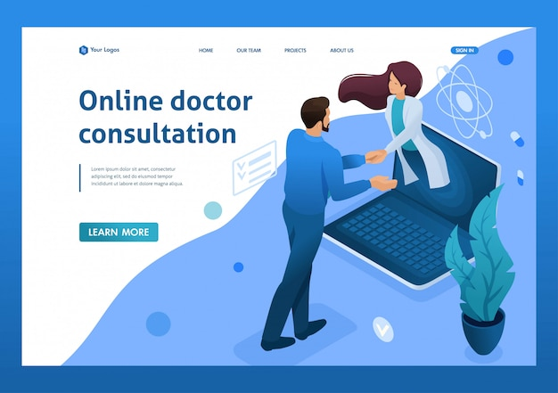 Conclusion of the contract for online consultation of the doctor. health care concept. 3d isometric. landing page concepts and web design