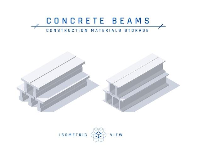 Концепция хранения бетонных балок, изометрический вид для архитектурных проектов в плоском стиле