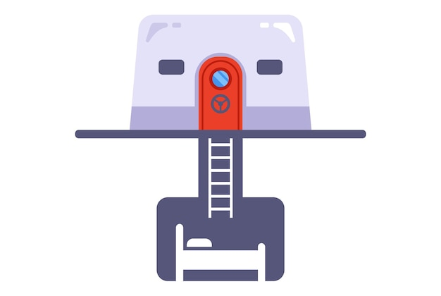 Concrete bunker icon in case of nuclear war. flat vector illustration.