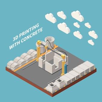 콘크리트 시멘트 생산 아이소 메트릭 그림