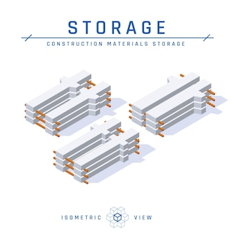 Concrete columns storage, isometric view in flat style.