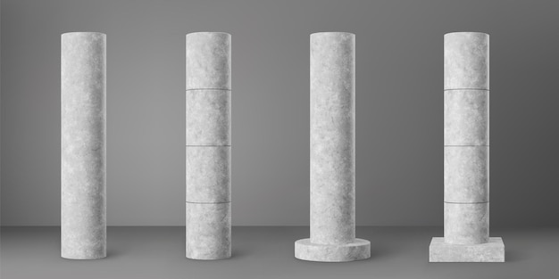 Concrete cylindrical columns set isolated on grey background. realistic cement 3d pillar for modern room interior or bridge construction. vector textured concrete pole base for banner or billboard.