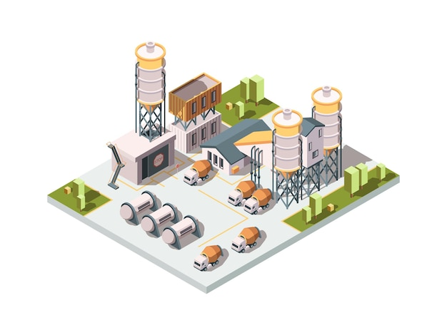 Concrete factory. machinery manufactory production industrial concept cement mixer machine and tanks