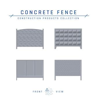 콘크리트 울타리 아이콘, 평면 스타일의 전면보기