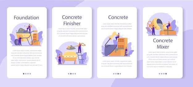 콘크리트 피니셔 빌더 모바일 애플리케이션 배너 세트