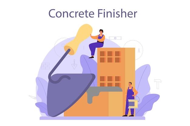 Строитель-бетонщик. профессиональный рабочий готовит бетон с инструментами и цементом. процесс строительства дома.