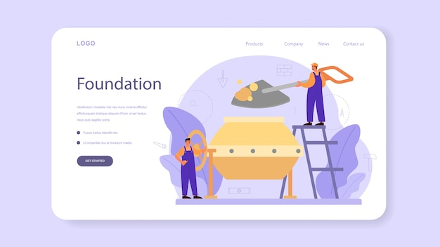 Concrete finisher builder web banner or landing page