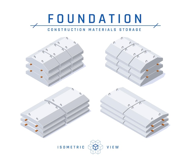 Concrete foundation storage concept, isometric view of icons for architectural design