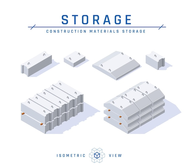 Concrete foundation storage concept in isometric view.