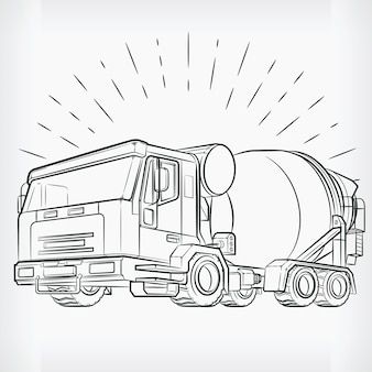 Concrete mixer doodle cement truck sketch drawing Premium Vector