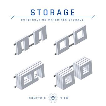 Концепция хранения бетонных панелей, изометрический вид в плоском стиле.