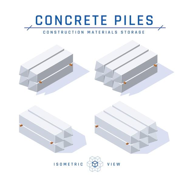 Концепция хранения бетонных свай, изометрический вид в плоском стиле.
