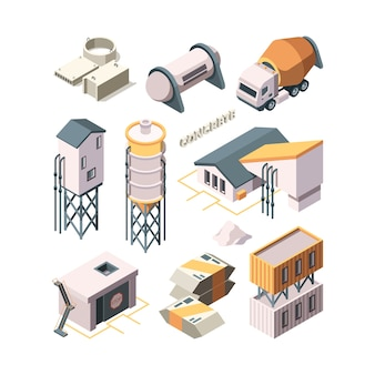 Concrete production. cement factory industry material technology concrete mixer transport tanks vector isometric. industry cement building, production concrete