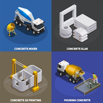 Concrete production isometric 2x2 concept with transport cement mixing units and industrial facilities with text