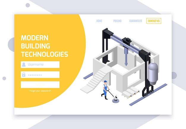 아이소 메트릭 일러스트와 함께 콘크리트 생산 웹 사이트 템플릿