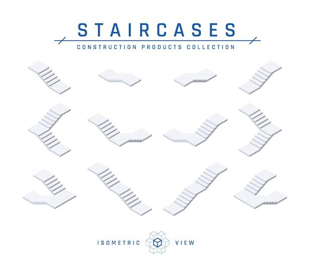 Бетонные лестницы, изометрический набор иконок для архитектурных проектов в плоском стиле
